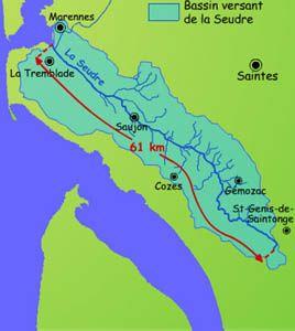 Bassin versant de la Seudre: les marais de la Seudre s'étendent depuis Saujon jusqu'à l'embouchure, face à l'île d'Oléron.