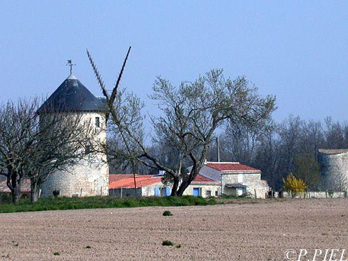 Moulin de Luzac, restauré avec en arrière plan le Moulin de la Combe qui n'a pas encore retrouvé ses ailes, printemps 2004