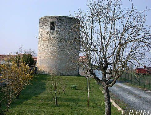 Moulin de Bel Air à Nieulle, sans toit, et dont il ne reste plus que la tonnelle maçonnée, printemps 2004