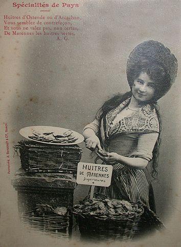Vendeuse d'Huîtres de Marennes-Oléron du début du XX° siècle (Coll. particulière P.Piel)